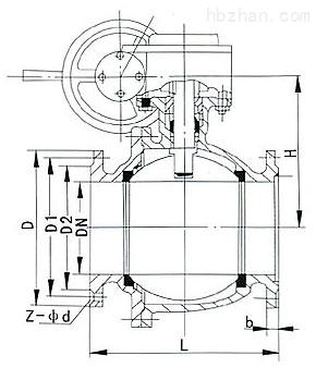 Q347F-16C美标固定式软密封球阀主要连接尺寸图