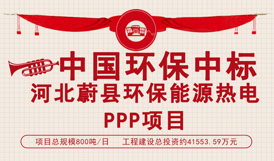 中国环保中标800吨/日河北蔚县环保能源热电项目