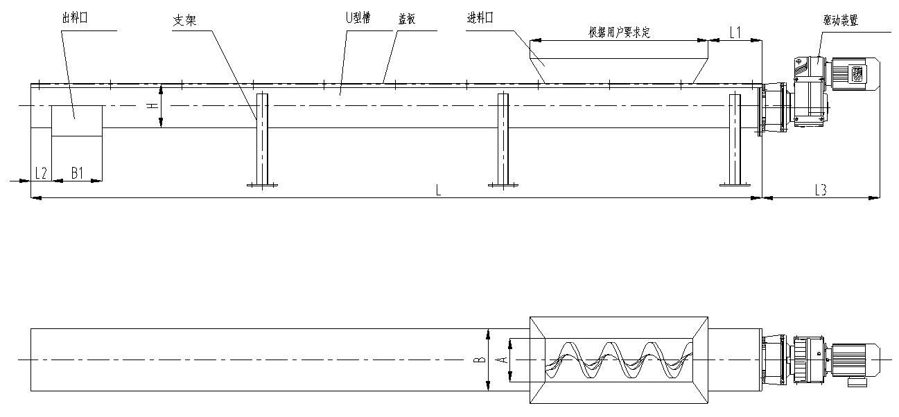 无轴螺旋输送机主要结构及工作原理